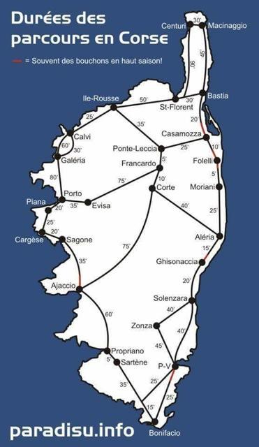 Temps des trajets en Corse